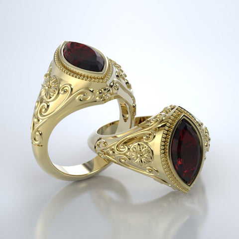 Memorial Jewelry - Cassandra Ring in 18k Yellow Gold with Mozambique Garnet