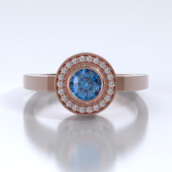 Memorial Jewelry - Sparkling Mystere Ring in 18k Rose Gold with Blue Zircon and Diamonds - Side