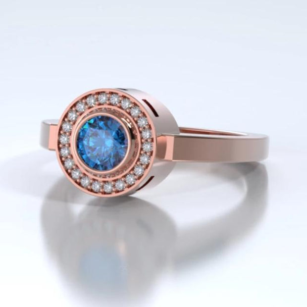 Sparkling Mystere Cremation Ring in 18k Rose Gold with Diamonds