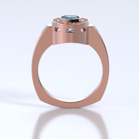Memorial Jewelry - Sparkling Mystere Ring in 18k Rose Gold with Blue Zircon and Diamonds - Profile