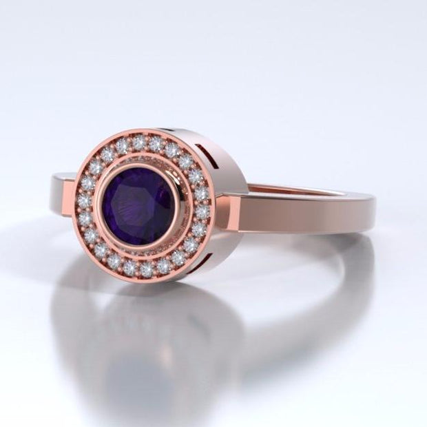 Memorial Jewelry - Sparkling Mystere Ring in 18k Rose Gold with Amethyst and Diamonds - Side