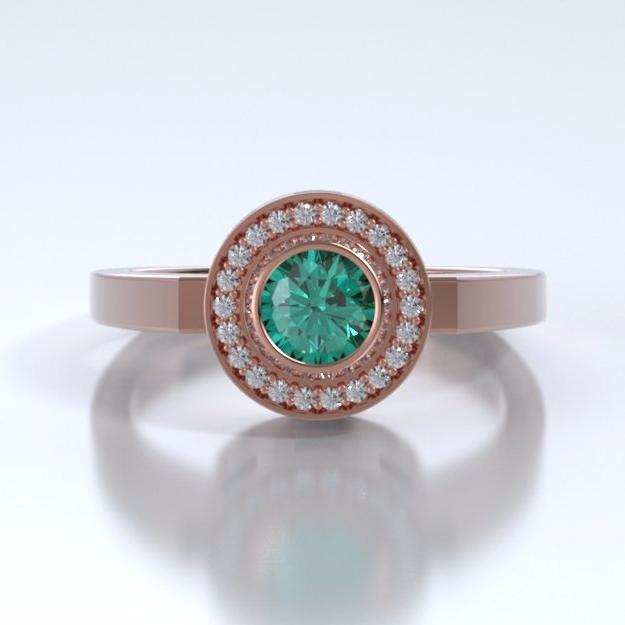 Memorial Jewelry - Sparkling Mystere Ring in 18k Rose Gold with Emerald and Diamonds - Front