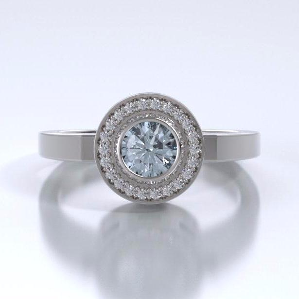 Memorial Jewelry - Sparkling Mystere Ring in 18k White Gold with Aquamarine and Diamonds - Front