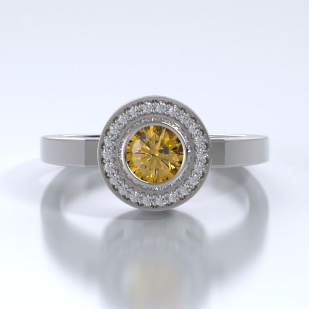 Memorial Jewelry - Sparkling Mystere Ring in 18k White Gold with Citrine and Diamonds - Front