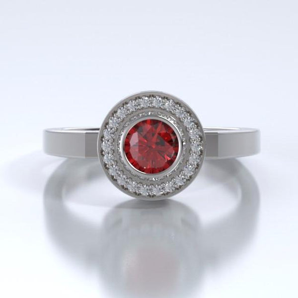 Memorial Jewelry - Sparkling Mystere Ring in 18k White Gold with Ruby and Diamonds - Front