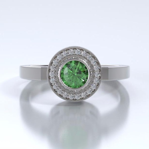 Memorial Jewelry - Sparkling Mystere Ring in 18k White Gold with Tsavorite Garnet and Diamonds - Front