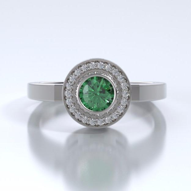 Memorial Jewelry - Sparkling Mystere Ring in 18k White Gold with Green Tourmaline and Diamonds - Front