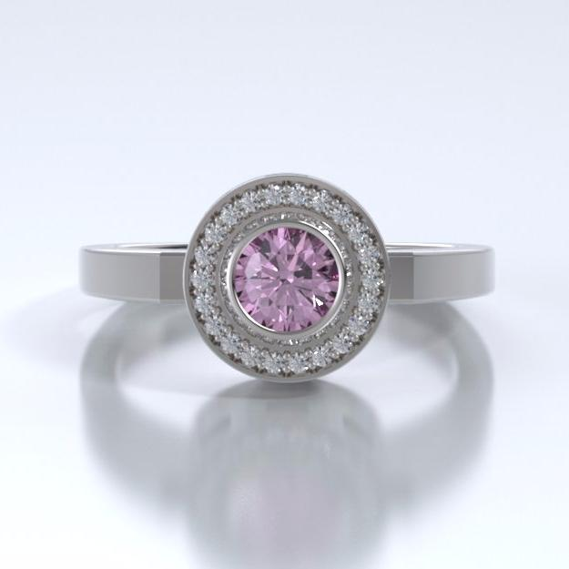 Memorial Jewelry - Sparkling Mystere Ring in 18k White Gold with Pink Tourmaline and Diamonds - Front