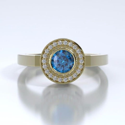 Memorial Jewelry - Sparkling Mystere Ring in 18k Yellow Gold with Blue Zircon and Diamonds - Front