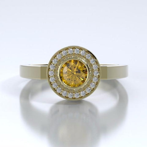 Memorial Jewelry - Sparkling Mystere Ring in 18k Yellow Gold with Citrine and Diamonds - Front