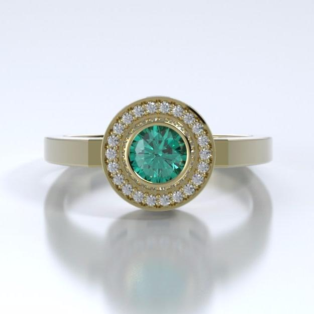 Memorial Jewelry - Sparkling Mystere Ring in 18k Yellow Gold with Emerald and Diamonds - Front