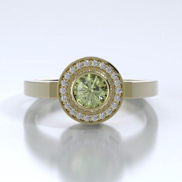 Memorial Jewelry - Sparkling Mystere Ring in 18k Yellow Gold with Peridot and Diamonds - Front