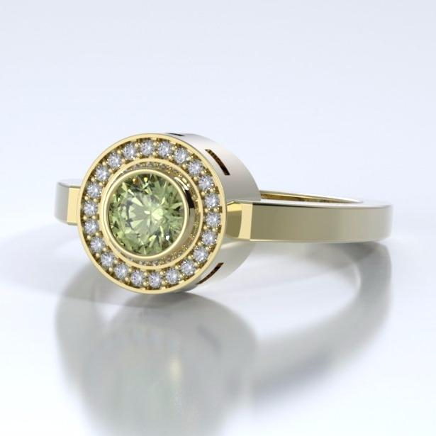 Memorial Jewelry - Sparkling Mystere Ring in 18k Yellow Gold with Peridot and Diamonds - Side