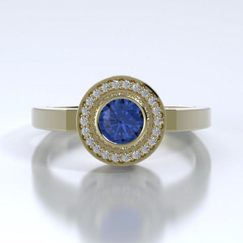 Memorial Jewelry - Sparkling Mystere Ring in 18k Yellow Gold with Blue Sapphire and Diamonds - Front