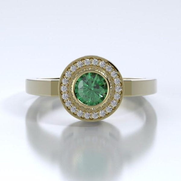 Memorial Jewelry - Sparkling Mystere Ring in 18k Yellow Gold with Green Tourmaline and Diamonds - Front