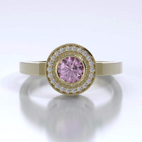 Memorial Jewelry - Sparkling Mystere Ring in 18k Yellow Gold with Pink Tourmaline and Diamonds - Front