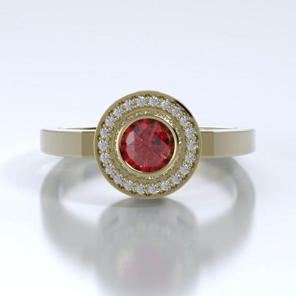 Memorial Jewelry - Sparkling Mystere Ring in 18k Yellow Gold with Ruby and Diamonds - Front