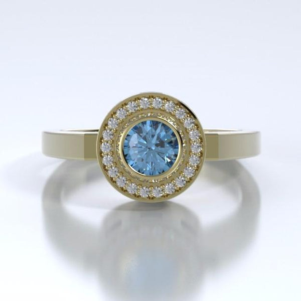 Memorial Jewelry - Sparkling Mystere Ring in 18k Yellow Gold with Blue Topaz and Diamonds - Front