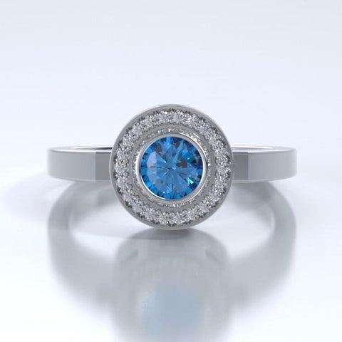 Memorial Jewelry - Sparkling Mystere Ring in Platinum with Blue Zircon and Diamonds - Front