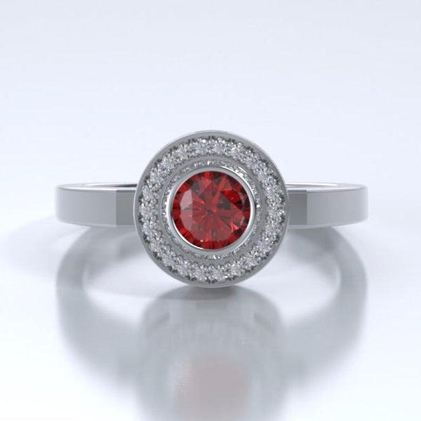 Memorial Jewelry - Sparkling Mystere Ring in Platinum with Ruby and Diamonds - Front