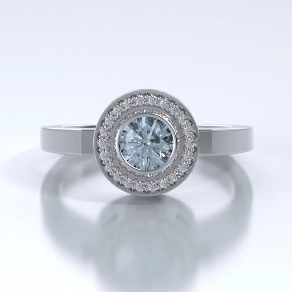 Memorial Jewelry - Sparkling Mystere Ring in Platinum with Aquamarine and Diamonds - Front