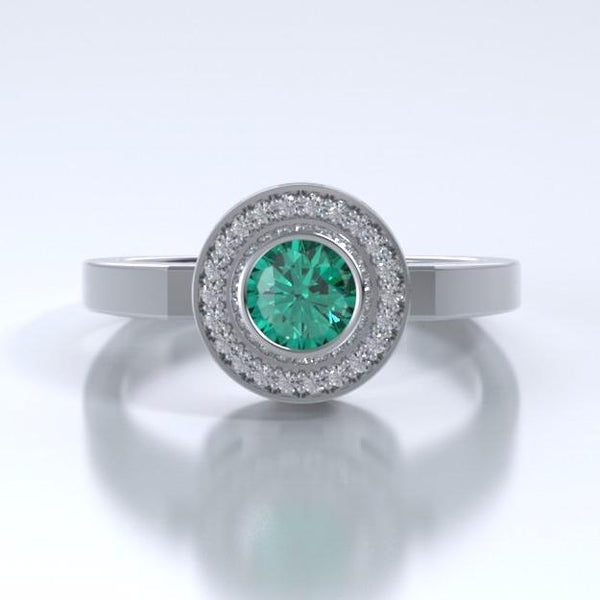 Memorial Jewelry - Sparkling Mystere Ring in Platinum with Emerald and Diamonds - Front