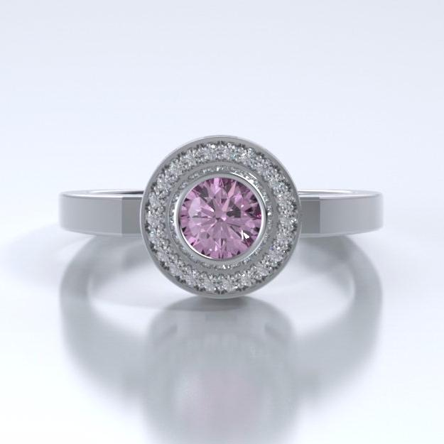 Memorial Jewelry - Sparkling Mystere Ring in Platinum with Pink Tourmaline and Diamonds - Front