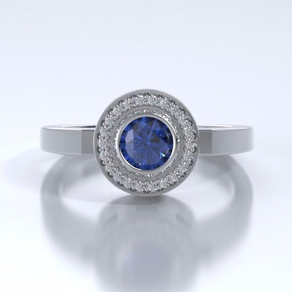 Memorial Jewelry - Sparkling Mystere Ring in Platinum with Blue Sapphire and Diamonds - Front