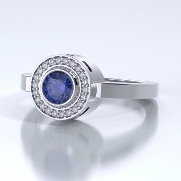 Memorial Jewelry - Sparkling Mystere Ring in Platinum with Blue Sapphire and Diamonds - Side