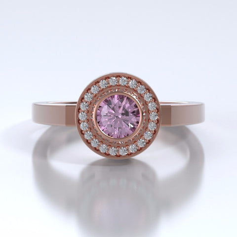 Memorial Jewelry - Sparkling Mystere Ring in 18k Rose Gold with Pink Tourmaline and Diamonds- Front