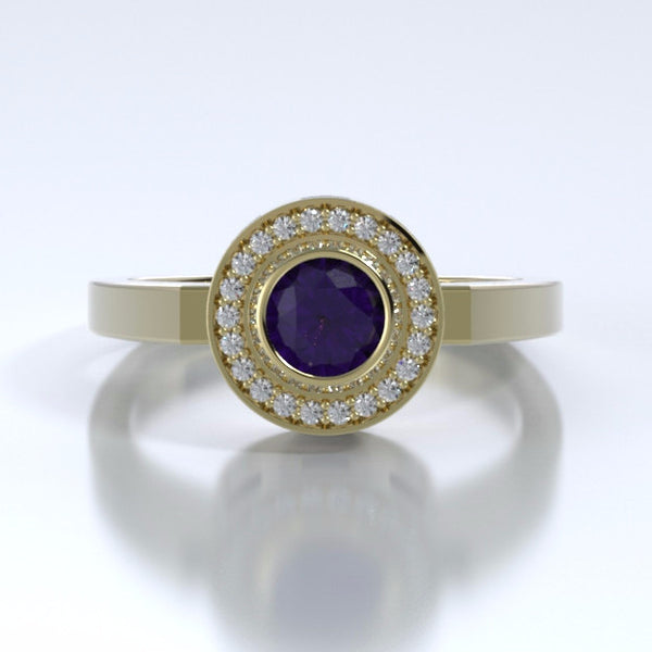 Memorial Jewelry - Sparkling Mystere Ring in 18k Yellow Gold with Amethyst and Diamonds - Front