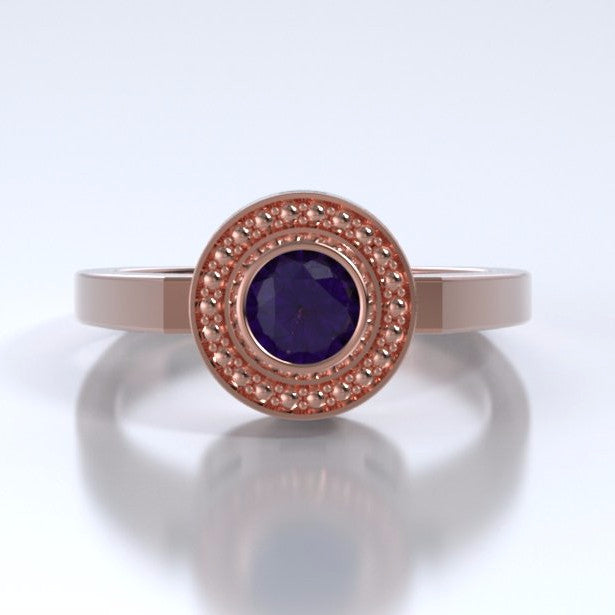 Memorial Jewelry - Mystere Ring in 18k Rose Gold with Amethyst - Front