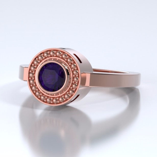 Memorial Jewelry - Mystere Ring in 18k Rose Gold with Amethyst - Side