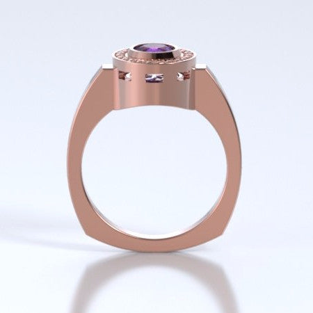 Memorial Jewelry - Mystere Ring in 18k Rose Gold with Amethyst - Profile