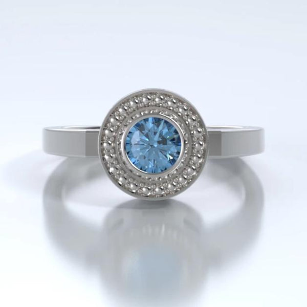 Mystere Cremation Ring in 18k White Gold with Blue Topaz