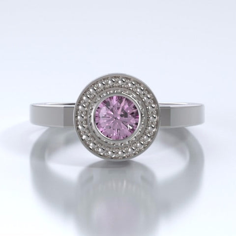 Memorial Jewelry - Mystere Ring in 18k White Gold with Pink Tourmaline - Front