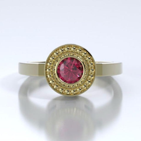 Memorial Jewelry - Mystere Ring in 18k Yellow Gold with Rhodolite Garnet - Front