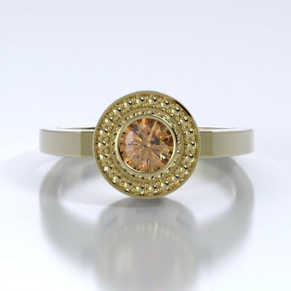 Memorial Jewelry - Mystere Ring in 18k Yellow Gold with Spessartite Garnet - Front
