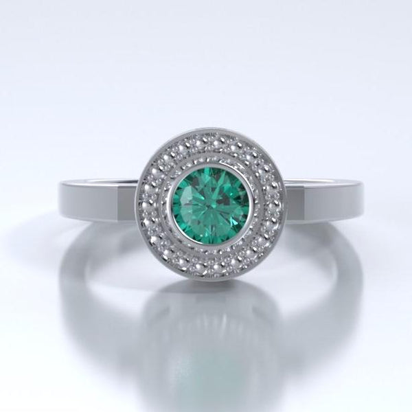 Memorial Jewelry - Mystere Ring in Platinum with Emerald - Front