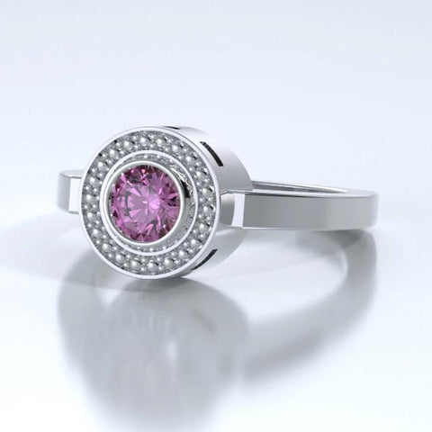 Mystere Solitaire Cremation Ring in Platinum with Pink Sapphire