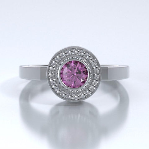 Memorial Jewelry - Mystere Ring in Platinum with Pink Sapphire - Front