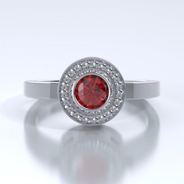 Memorial Jewelry - Mystere Ring in Platinum with Ruby - Profile