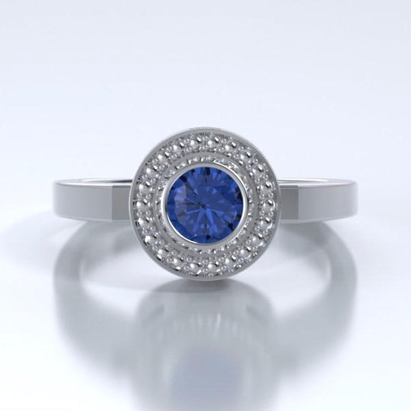 Memorial Jewelry - Mystere Ring in Platinum with Blue Sapphire - Front