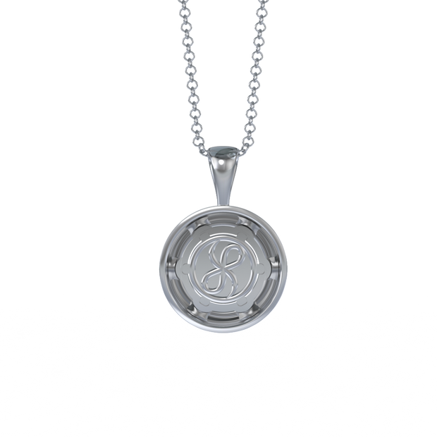 Memorial Jewelry - Halo Cremation Pendant in Platinum with Platinum Remembrance Pod - Back View