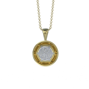 Memorial Jewelry - Halo Cremation Pendant in 18k Yellow Gold with Platinum Urn - Back