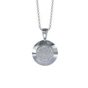 Memorial Jewelry - Halo Cremation Pendant in Platinum with Platinum Urn