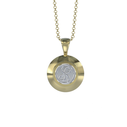 Memorial Jewelry - Halo Cremation Pendant in 18k Yellow Gold with Platinum Urn