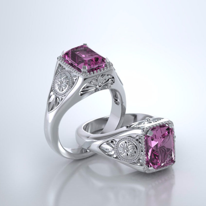 Memorial Jewelry - Lotus Ring in Platinum with Pink Sapphire