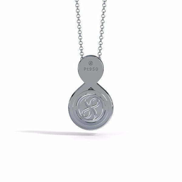 Memorial Jewelry - Eternity Pendant (Small) in Platinum with Blue Sapphire - Back