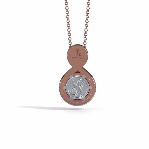 Memorial Jewelry - Eternity Pendant (Small) in 18k Rose Gold with Amethyst - Back